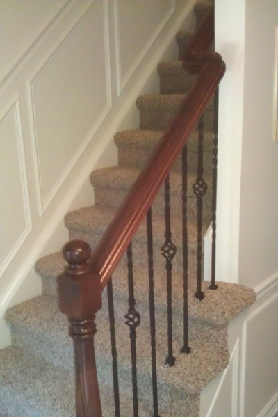 Custom Handrail and Newel Post with Iron Balusters