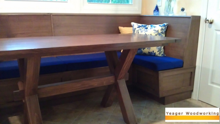 gorgeous coffee stained maple benches fit seamlessly into a small ...