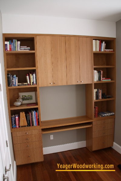 Cherry Built in Bookcase and Desk